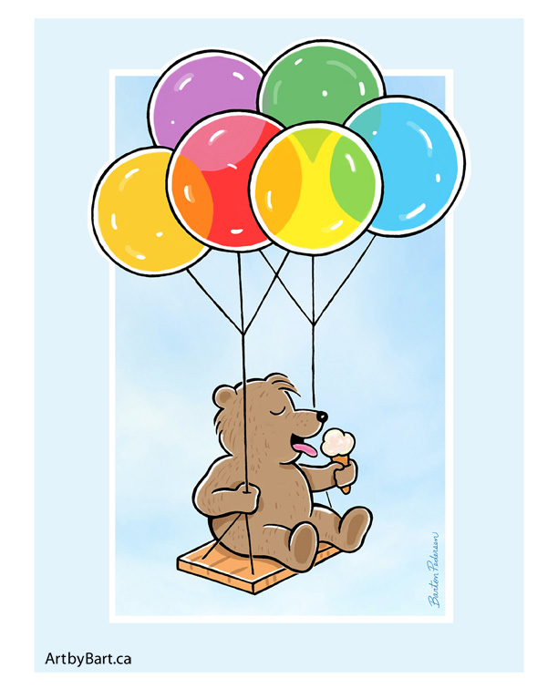 Little Bear licking ice cream floating with balloons
