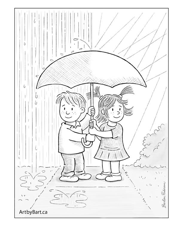 Kids with umbrella art print