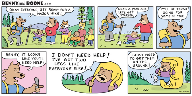 Animal Comic strip Hiking in the woods