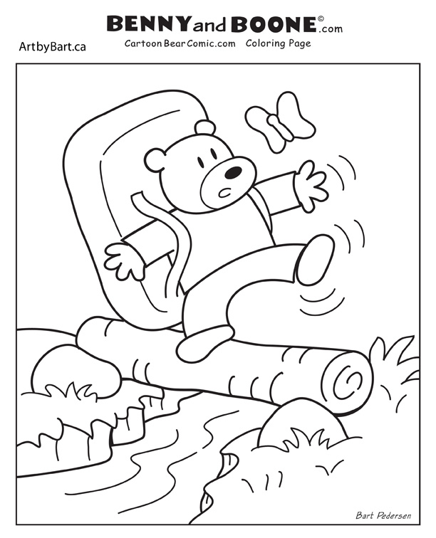 Benny Bear hiking coloring page