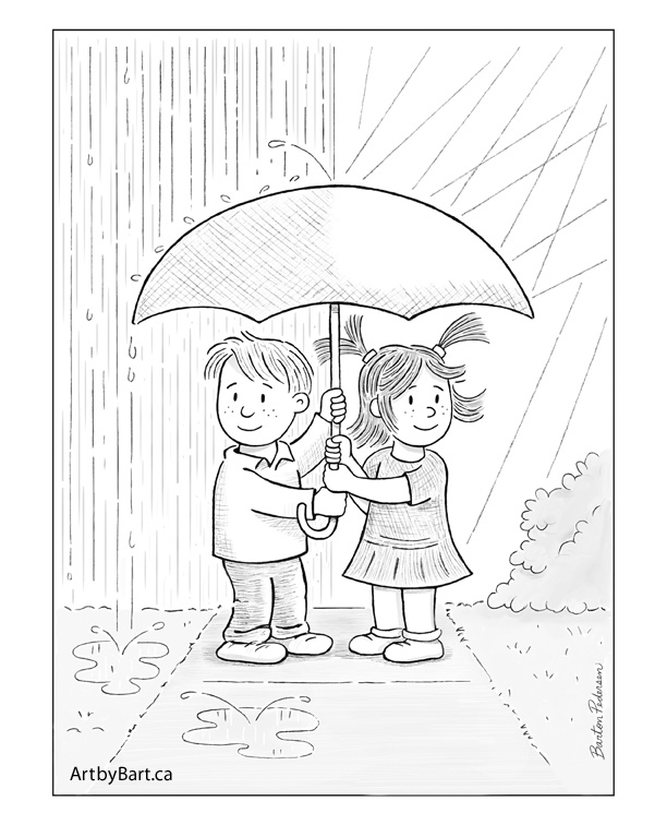 Kids with umbrella art print