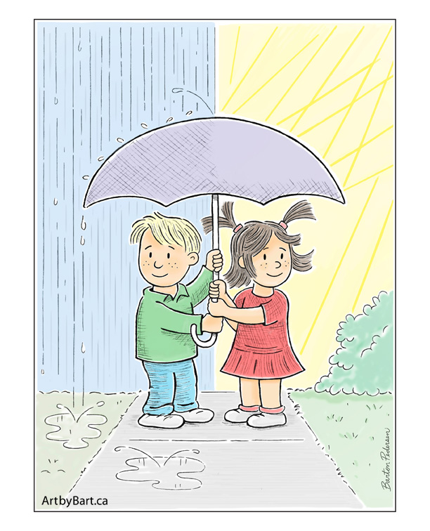 Children Art prints Kids under an umbrella