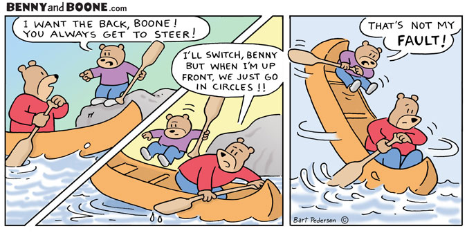 Two Bears go canoeing in this comic strip