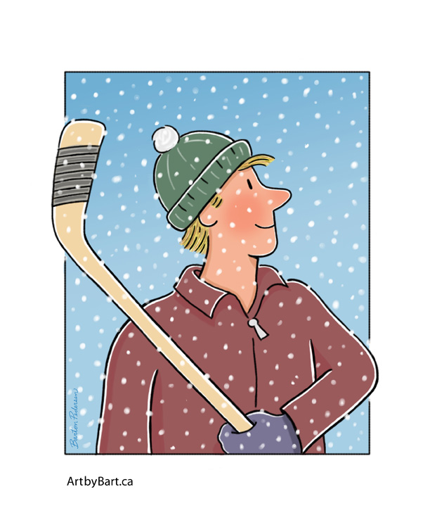 Art Print of Hockey player outdoors