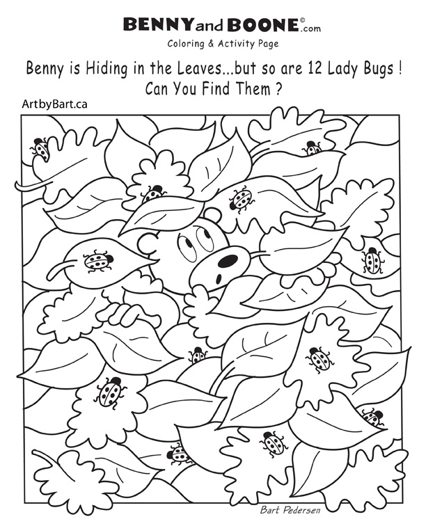 Activity coloring page find lady bugs